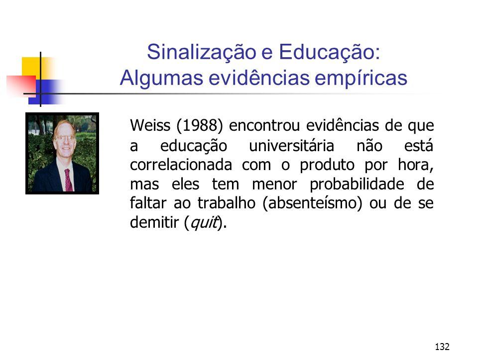 132 Sinalização e Educação: Algumas evidências empíricas Weiss (1988) encontrou evidências de que a educação universitária não está correlacionada com