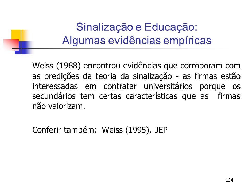 134 Sinalização e Educação: Algumas evidências empíricas Weiss (1988) encontrou evidências que corroboram com as predições da teoria da sinalização -