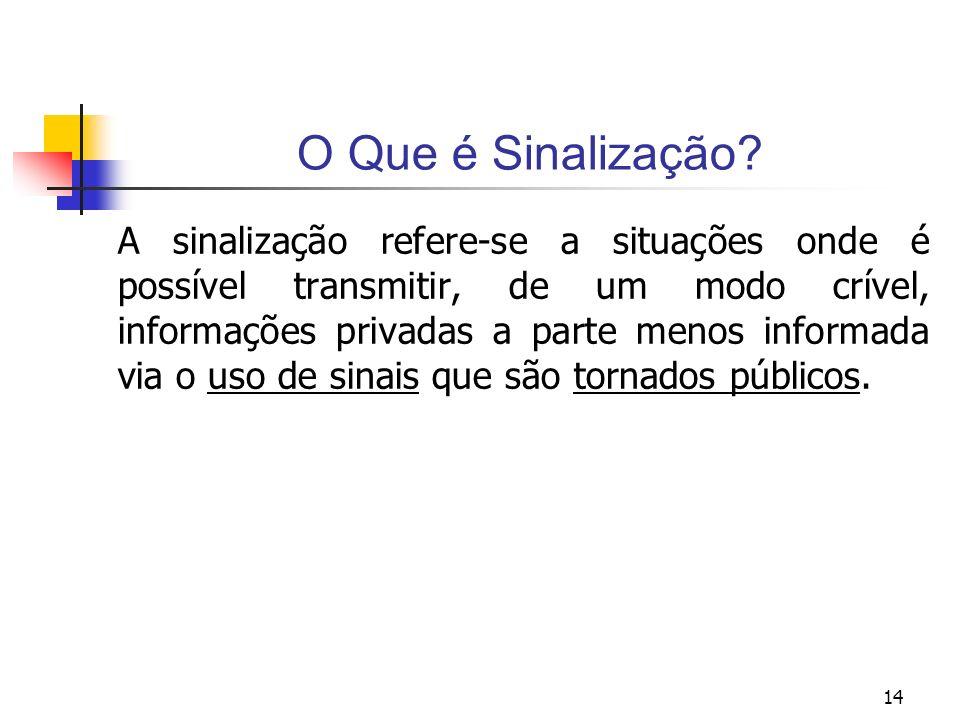 14 O Que é Sinalização? A sinalização refere-se a situações onde é possível transmitir, de um modo crível, informações privadas a parte menos informad