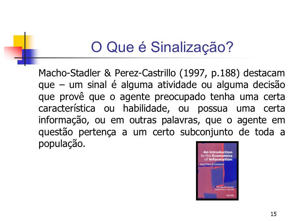 15 O Que é Sinalização? Macho-Stadler & Perez-Castrillo (1997, p.188) destacam que – um sinal é alguma atividade ou alguma decisão que provê que o age