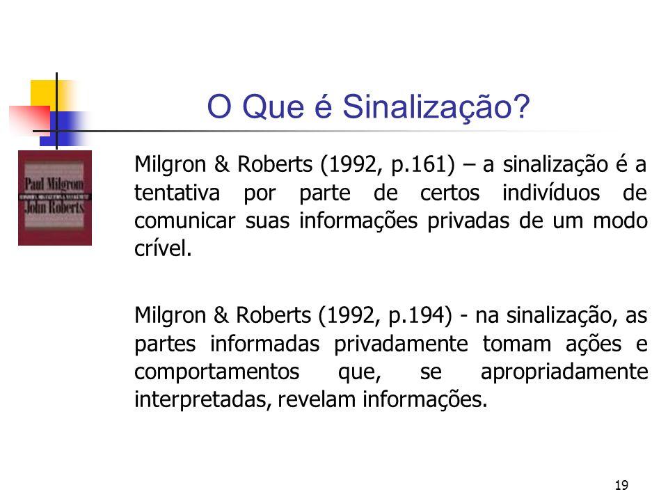 19 O Que é Sinalização? Milgron & Roberts (1992, p.161) – a sinalização é a tentativa por parte de certos indivíduos de comunicar suas informações pri