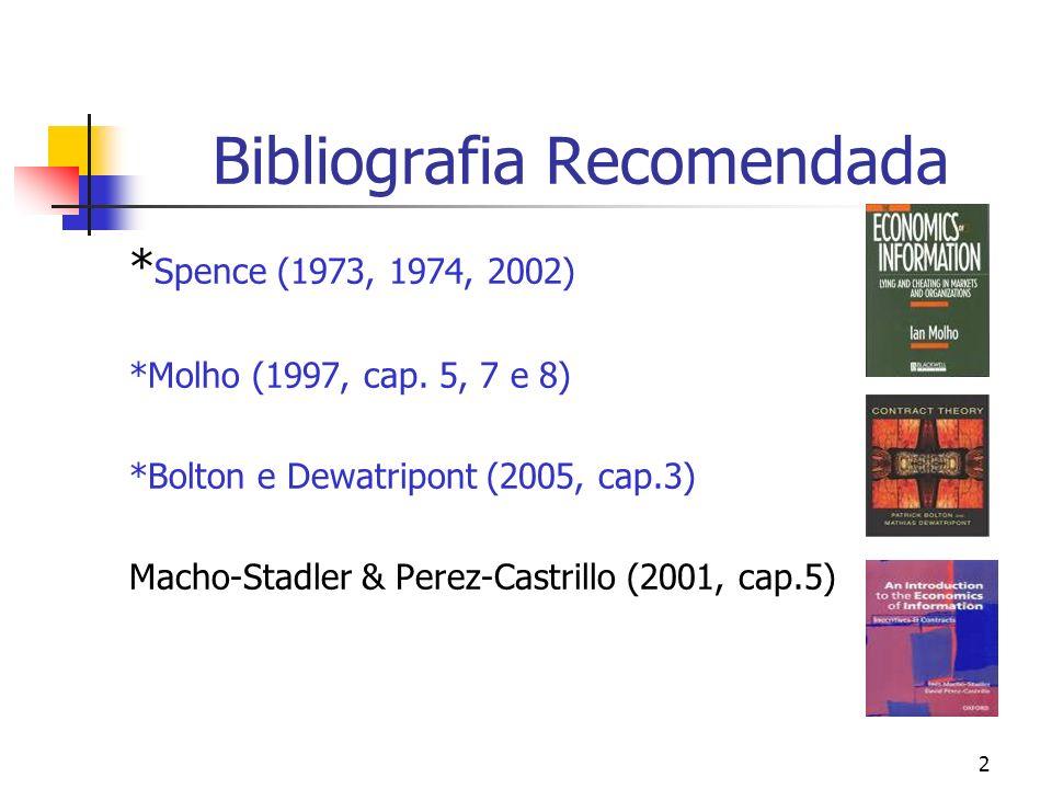 2 Bibliografia Recomendada * Spence (1973, 1974, 2002) *Molho (1997, cap. 5, 7 e 8) *Bolton e Dewatripont (2005, cap.3) Macho-Stadler & Perez-Castrill