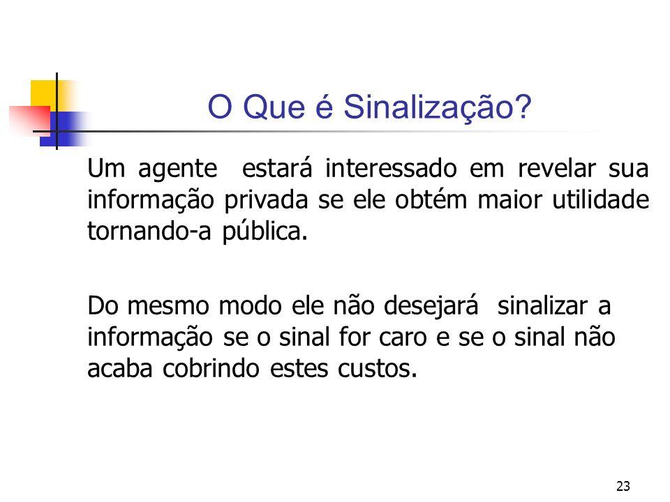 23 O Que é Sinalização? Um agente estará interessado em revelar sua informação privada se ele obtém maior utilidade tornando-a pública. Do mesmo modo