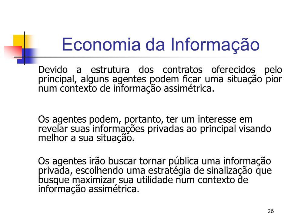 26 Economia da Informação Devido a estrutura dos contratos oferecidos pelo principal, alguns agentes podem ficar uma situação pior num contexto de inf