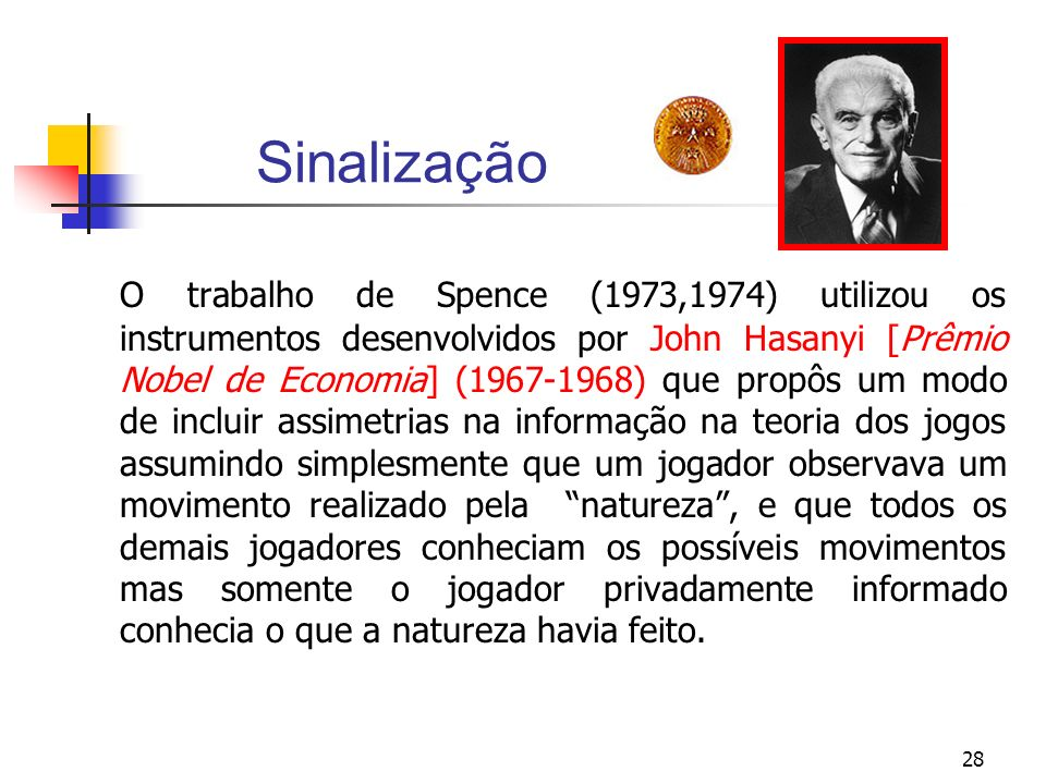 28 Sinalização O trabalho de Spence (1973,1974) utilizou os instrumentos desenvolvidos por John Hasanyi [Prêmio Nobel de Economia] (1967-1968) que pro