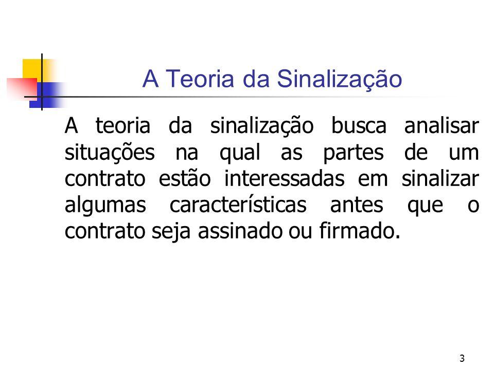 3 A Teoria da Sinalização A teoria da sinalização busca analisar situações na qual as partes de um contrato estão interessadas em sinalizar algumas ca