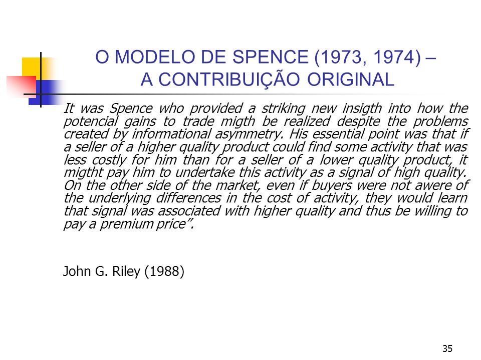 35 O MODELO DE SPENCE (1973, 1974) – A CONTRIBUIÇÃO ORIGINAL It was Spence who provided a striking new insigth into how the potencial gains to trade m