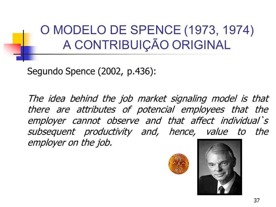 37 O MODELO DE SPENCE (1973, 1974) A CONTRIBUIÇÃO ORIGINAL Segundo Spence (2002, p.436): The idea behind the job market signaling model is that there