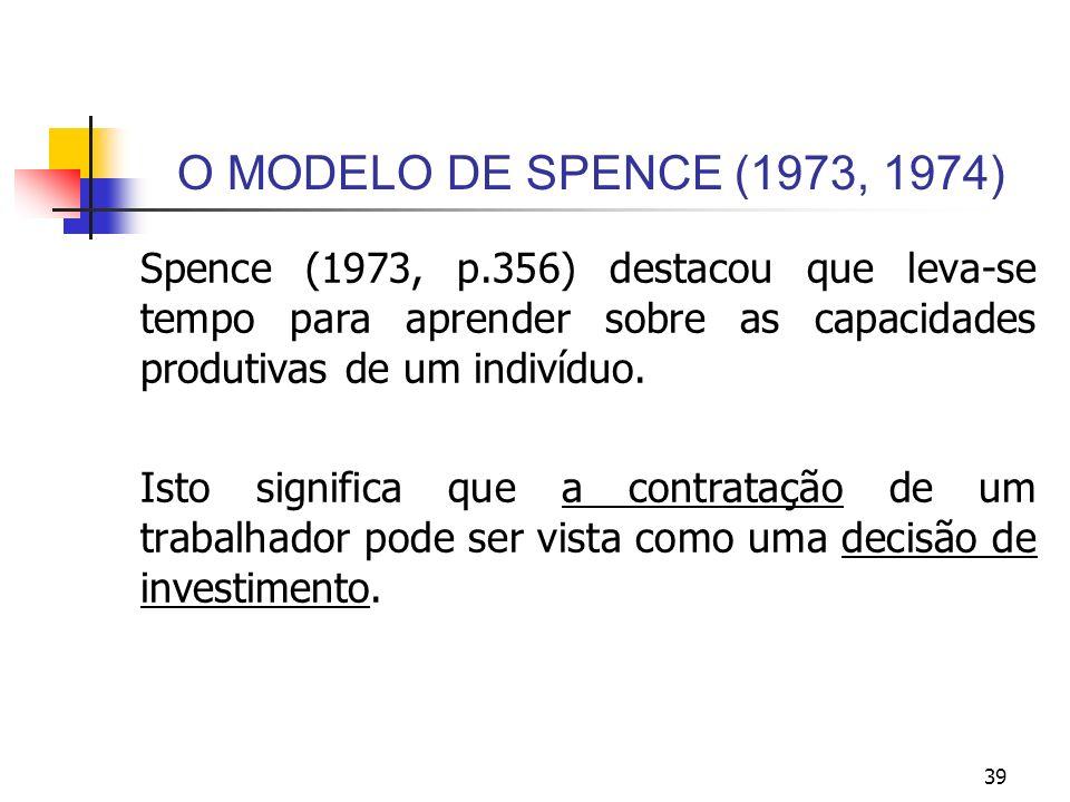 39 O MODELO DE SPENCE (1973, 1974) Spence (1973, p.356) destacou que leva-se tempo para aprender sobre as capacidades produtivas de um indivíduo. Isto