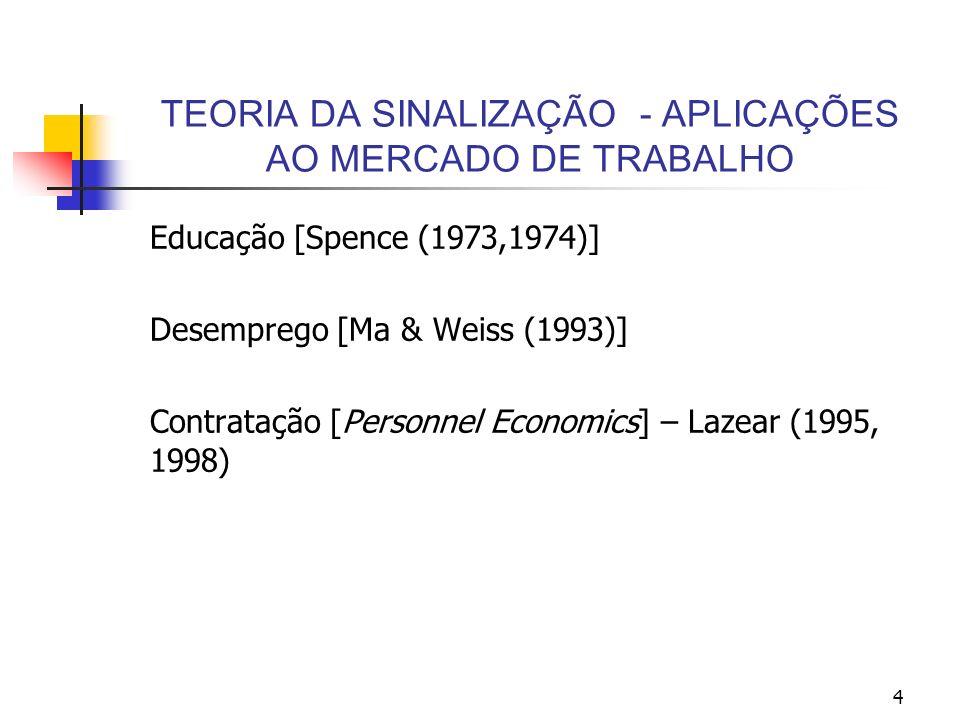 4 TEORIA DA SINALIZAÇÃO - APLICAÇÕES AO MERCADO DE TRABALHO Educação [Spence (1973,1974)] Desemprego [Ma & Weiss (1993)] Contratação [Personnel Econom