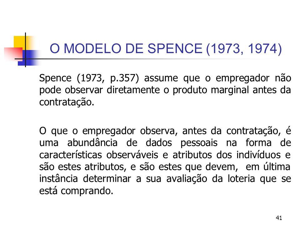 41 O MODELO DE SPENCE (1973, 1974) Spence (1973, p.357) assume que o empregador não pode observar diretamente o produto marginal antes da contratação.