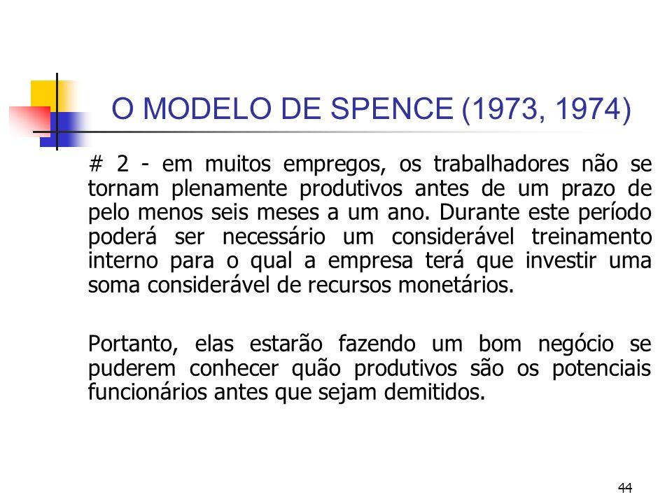 44 O MODELO DE SPENCE (1973, 1974) # 2 - em muitos empregos, os trabalhadores não se tornam plenamente produtivos antes de um prazo de pelo menos seis