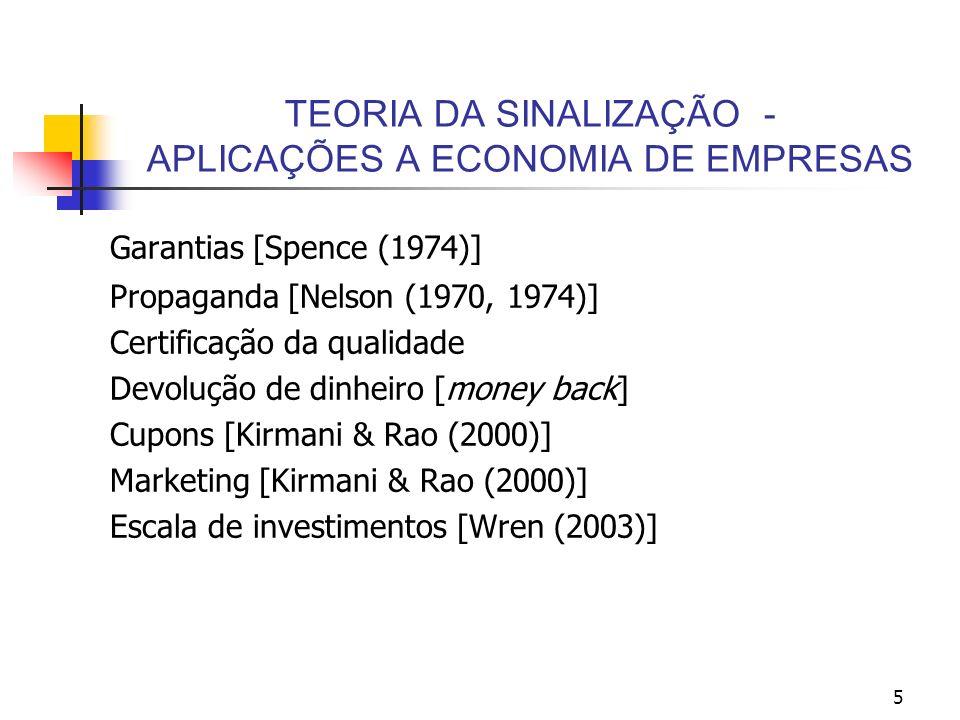 5 TEORIA DA SINALIZAÇÃO - APLICAÇÕES A ECONOMIA DE EMPRESAS Garantias [Spence (1974)] Propaganda [Nelson (1970, 1974)] Certificação da qualidade Devol