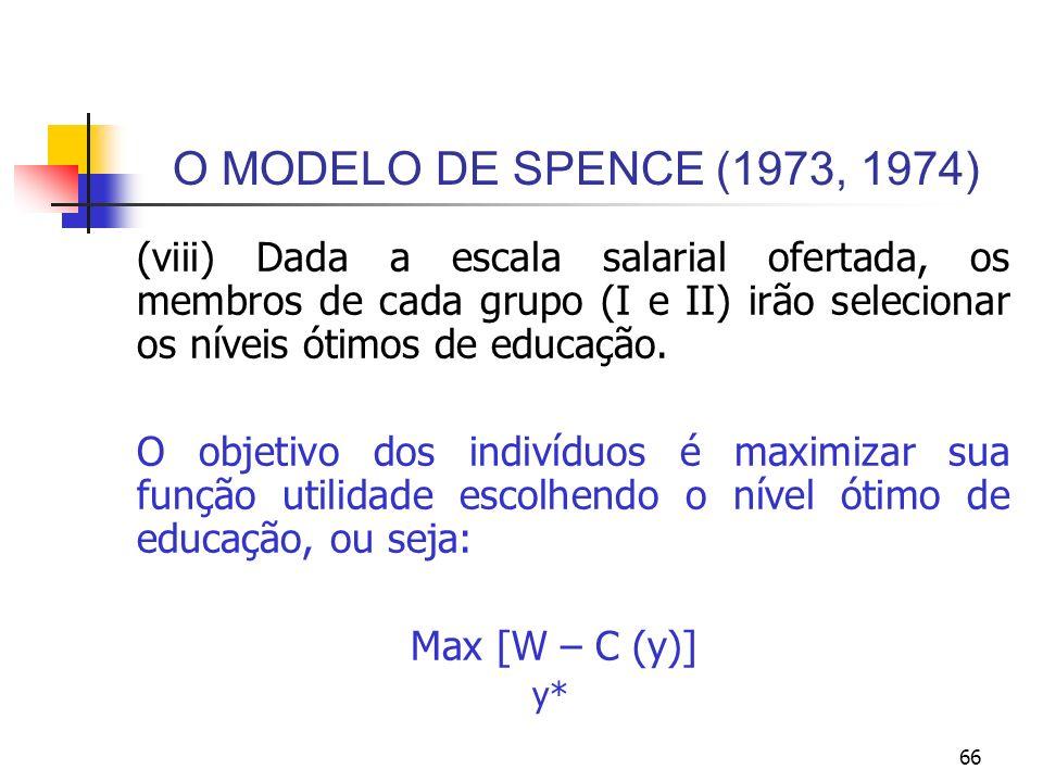 66 O MODELO DE SPENCE (1973, 1974) (viii) Dada a escala salarial ofertada, os membros de cada grupo (I e II) irão selecionar os níveis ótimos de educa