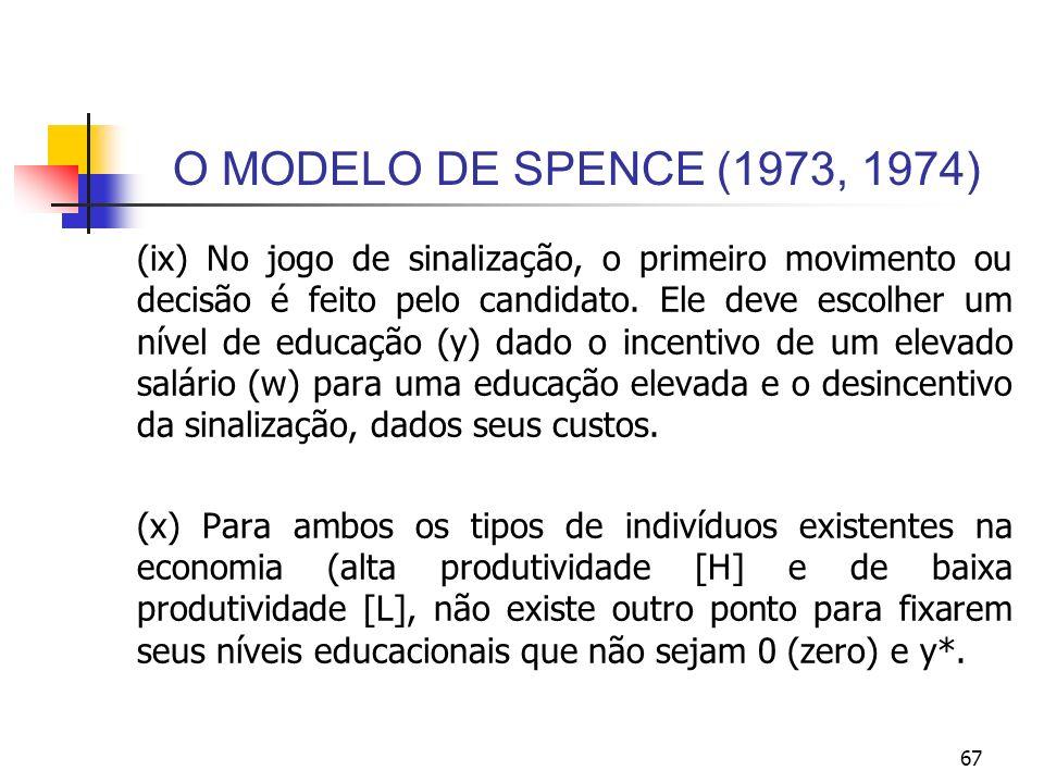 67 O MODELO DE SPENCE (1973, 1974) (ix) No jogo de sinalização, o primeiro movimento ou decisão é feito pelo candidato. Ele deve escolher um nível de
