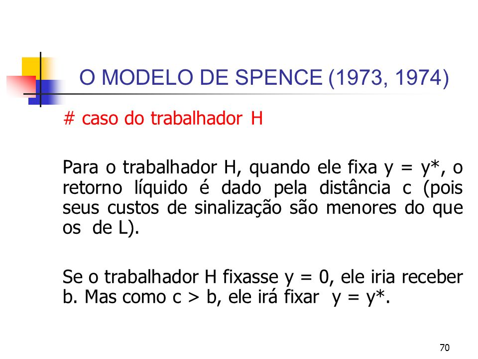 70 O MODELO DE SPENCE (1973, 1974) # caso do trabalhador H Para o trabalhador H, quando ele fixa y = y*, o retorno líquido é dado pela distância c (po