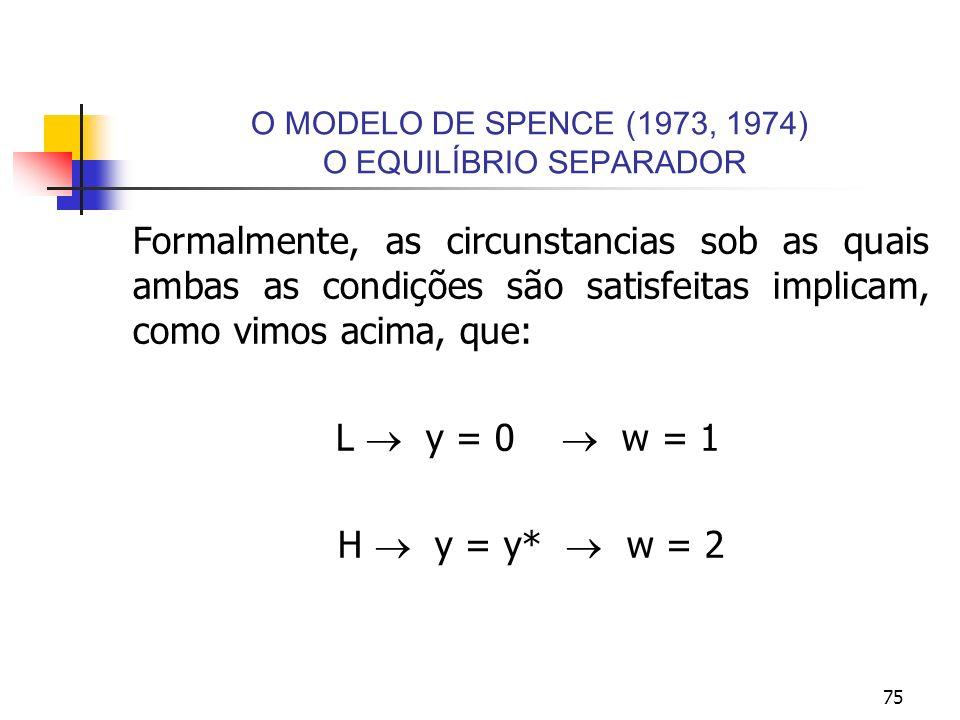 75 O MODELO DE SPENCE (1973, 1974) O EQUILÍBRIO SEPARADOR Formalmente, as circunstancias sob as quais ambas as condições são satisfeitas implicam, com