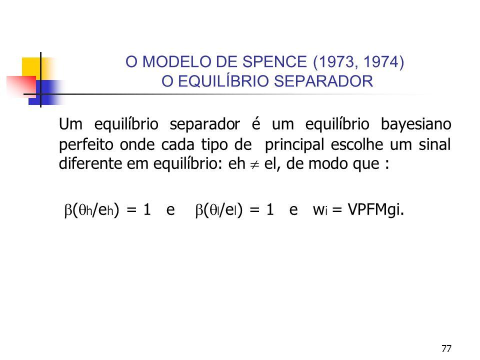77 O MODELO DE SPENCE (1973, 1974) O EQUILÍBRIO SEPARADOR Um equilíbrio separador é um equilíbrio bayesiano perfeito onde cada tipo de principal escol