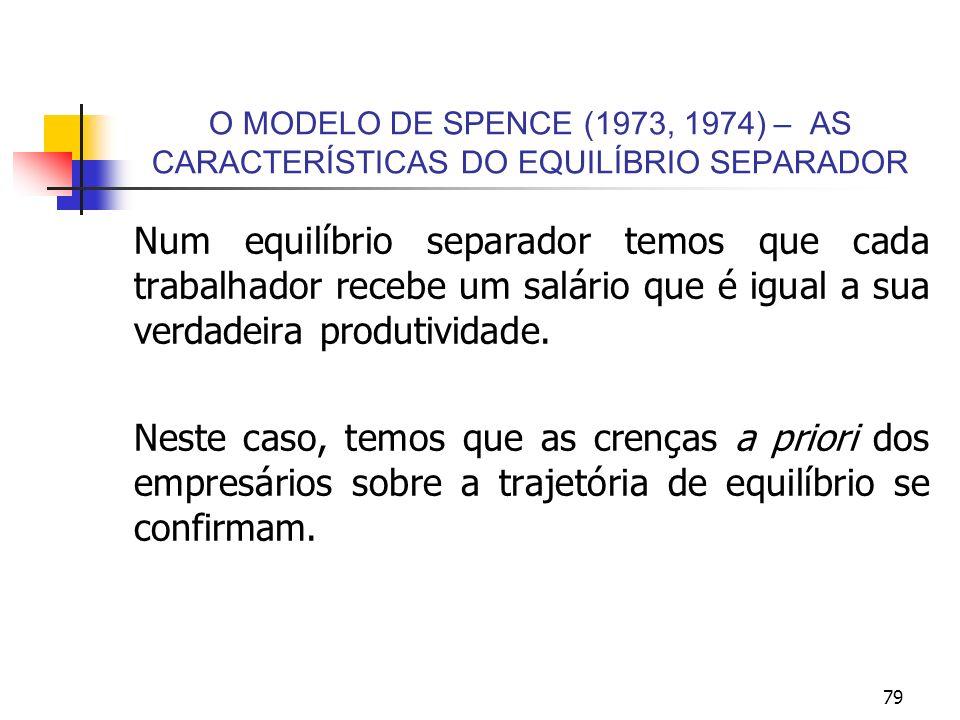 79 O MODELO DE SPENCE (1973, 1974) – AS CARACTERÍSTICAS DO EQUILÍBRIO SEPARADOR Num equilíbrio separador temos que cada trabalhador recebe um salário