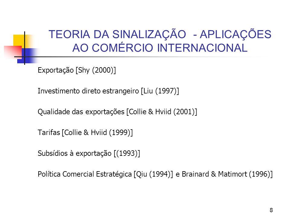 8 TEORIA DA SINALIZAÇÃO - APLICAÇÕES AO COMÉRCIO INTERNACIONAL Exportação [Shy (2000)] Investimento direto estrangeiro [Liu (1997)] Qualidade das expo
