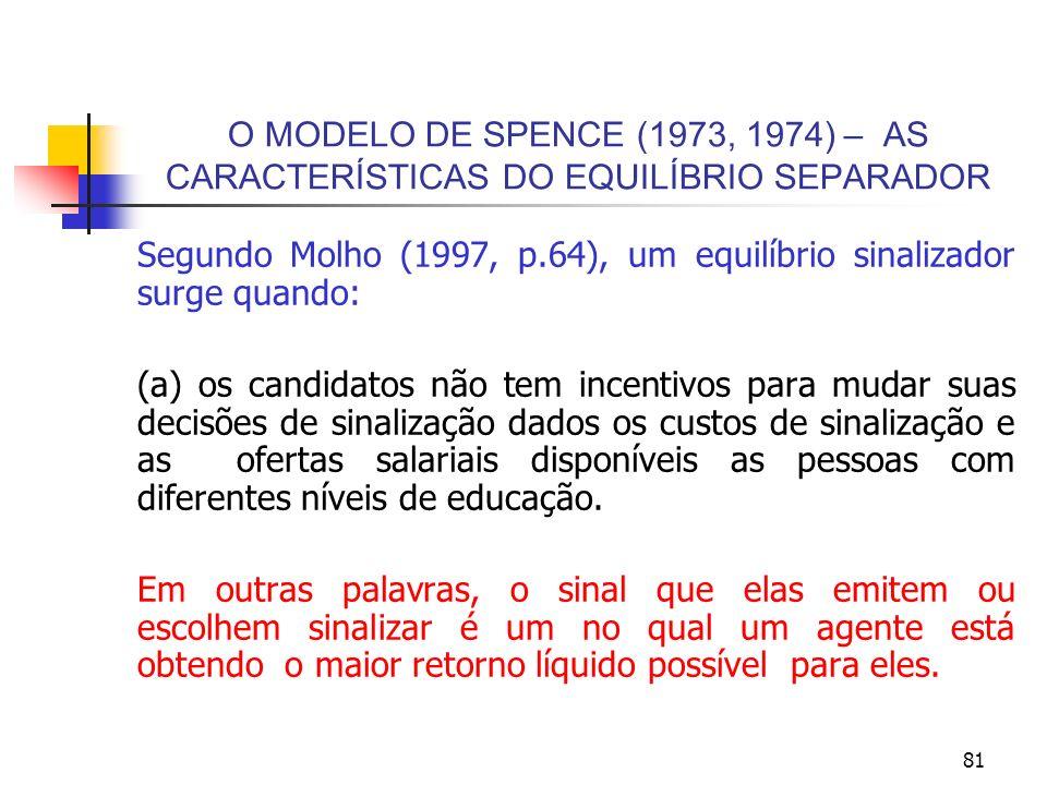 81 O MODELO DE SPENCE (1973, 1974) – AS CARACTERÍSTICAS DO EQUILÍBRIO SEPARADOR Segundo Molho (1997, p.64), um equilíbrio sinalizador surge quando: (a