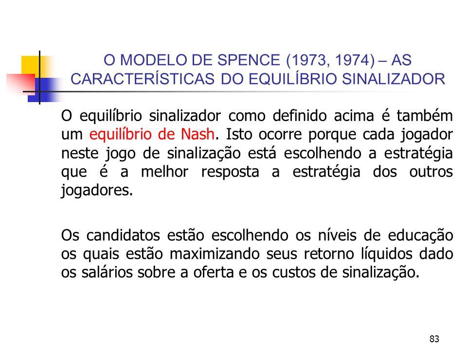 83 O MODELO DE SPENCE (1973, 1974) – AS CARACTERÍSTICAS DO EQUILÍBRIO SINALIZADOR O equilíbrio sinalizador como definido acima é também um equilíbrio