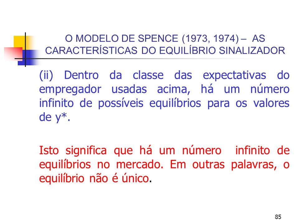 85 O MODELO DE SPENCE (1973, 1974) – AS CARACTERÍSTICAS DO EQUILÍBRIO SINALIZADOR (ii) Dentro da classe das expectativas do empregador usadas acima, h
