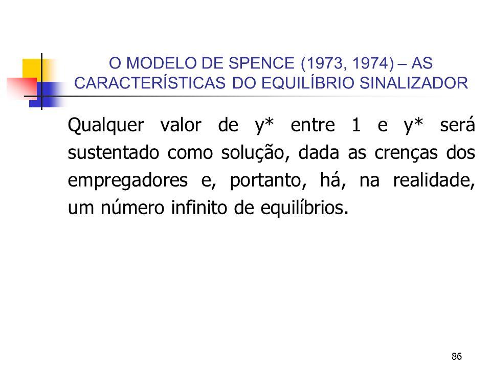 86 O MODELO DE SPENCE (1973, 1974) – AS CARACTERÍSTICAS DO EQUILÍBRIO SINALIZADOR Qualquer valor de y* entre 1 e y* será sustentado como solução, dada