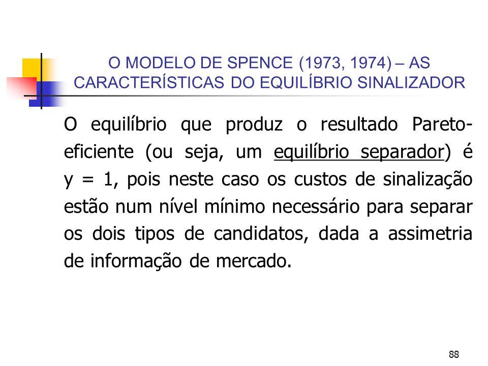 88 O MODELO DE SPENCE (1973, 1974) – AS CARACTERÍSTICAS DO EQUILÍBRIO SINALIZADOR O equilíbrio que produz o resultado Pareto- eficiente (ou seja, um e