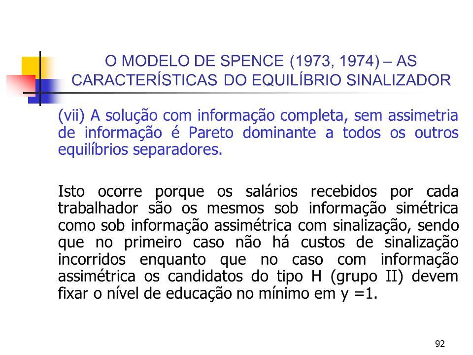 92 O MODELO DE SPENCE (1973, 1974) – AS CARACTERÍSTICAS DO EQUILÍBRIO SINALIZADOR (vii) A solução com informação completa, sem assimetria de informaçã