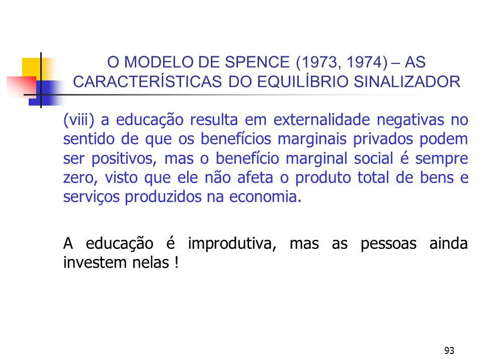 93 O MODELO DE SPENCE (1973, 1974) – AS CARACTERÍSTICAS DO EQUILÍBRIO SINALIZADOR (viii) a educação resulta em externalidade negativas no sentido de q
