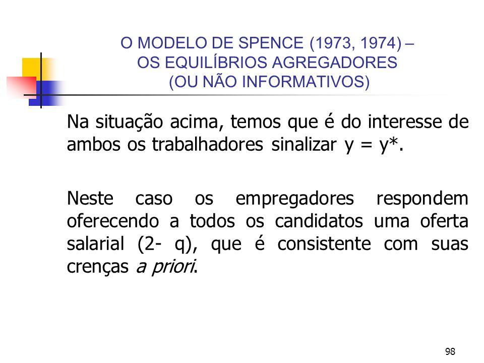 98 O MODELO DE SPENCE (1973, 1974) – OS EQUILÍBRIOS AGREGADORES (OU NÃO INFORMATIVOS) Na situação acima, temos que é do interesse de ambos os trabalha