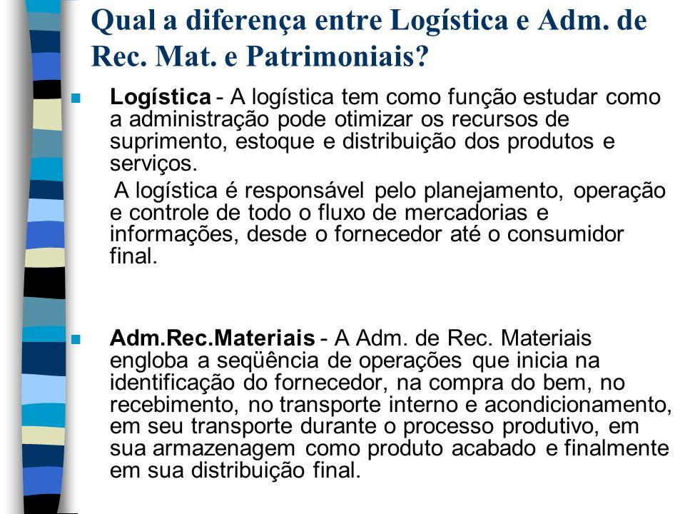 n Logística - A logística tem como função estudar como a administração pode otimizar os recursos de suprimento, estoque e distribuição dos produtos e
