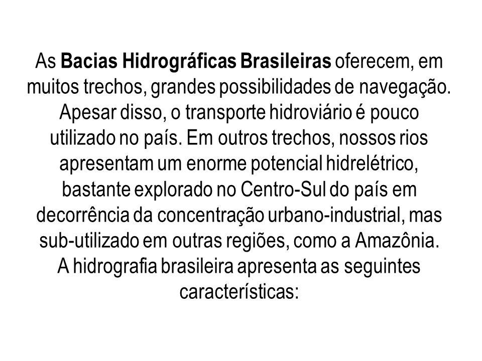 As Bacias Hidrográficas Brasileiras oferecem, em muitos trechos, grandes possibilidades de navegação. Apesar disso, o transporte hidroviário é pouco u