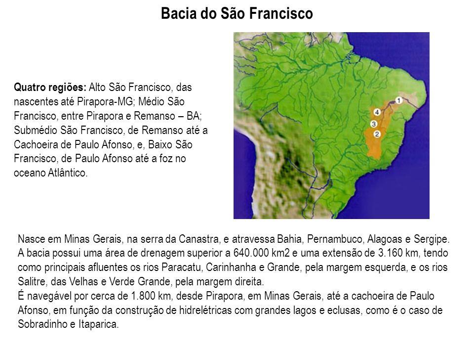 Quatro regiões: Alto São Francisco, das nascentes até Pirapora-MG; Médio São Francisco, entre Pirapora e Remanso – BA; Submédio São Francisco, de Rema