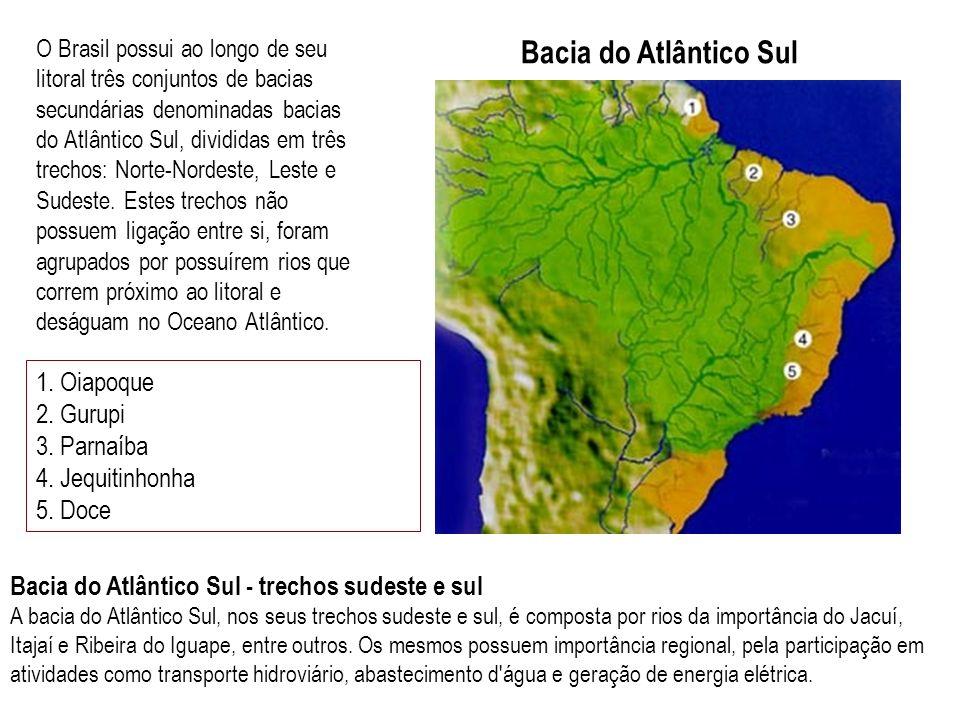 Bacia do Atlântico Sul O Brasil possui ao longo de seu litoral três conjuntos de bacias secundárias denominadas bacias do Atlântico Sul, divididas em