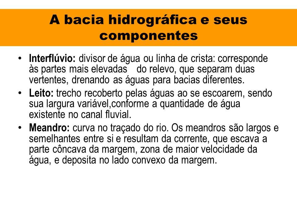 A bacia hidrográfica e seus componentes Interflúvio: divisor de água ou linha de crista: corresponde às partes mais elevadasdo relevo, que separam dua