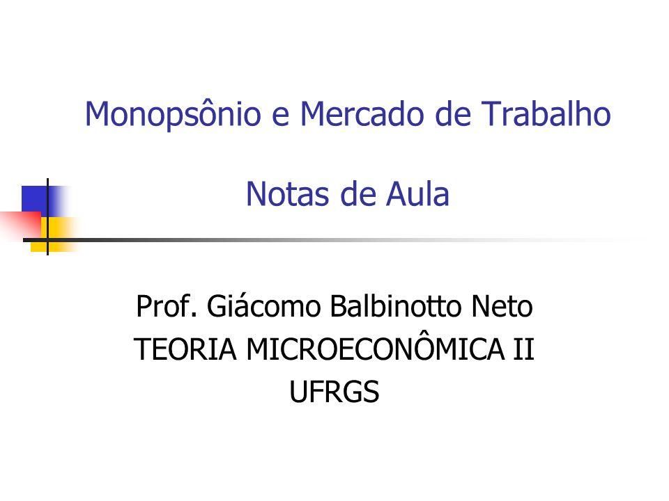 Monopsônio e Mercado de Trabalho Notas de Aula Prof. Giácomo Balbinotto Neto TEORIA MICROECONÔMICA II UFRGS