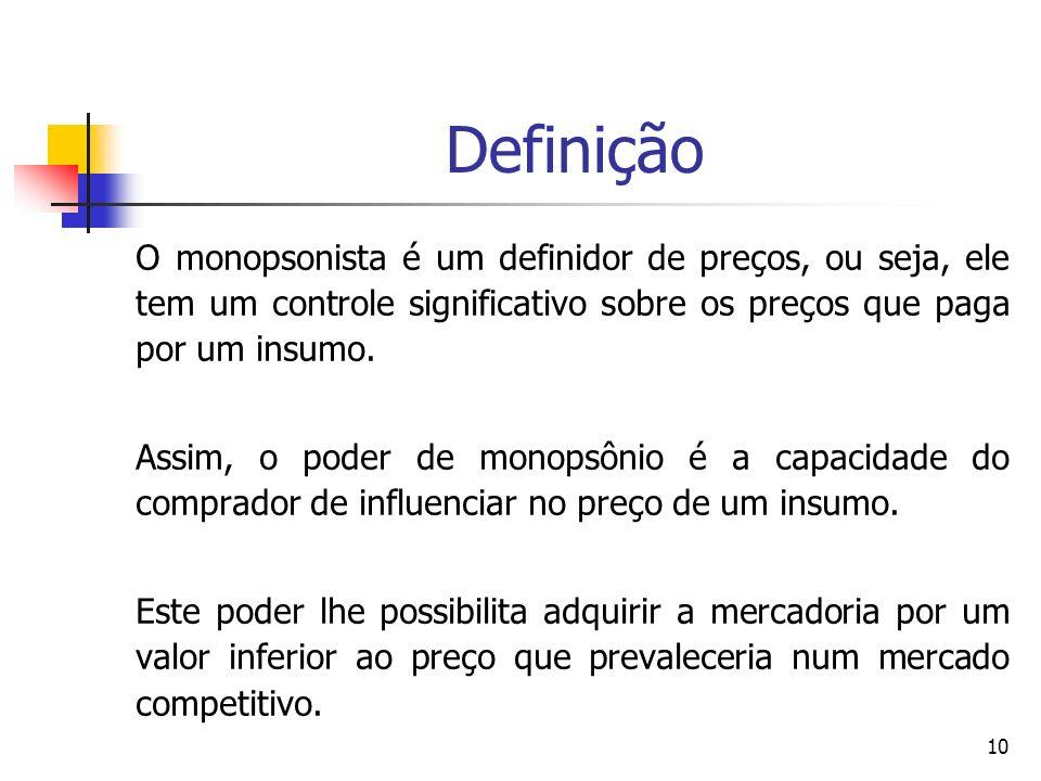 10 Definição O monopsonista é um definidor de preços, ou seja, ele tem um controle significativo sobre os preços que paga por um insumo. Assim, o pode