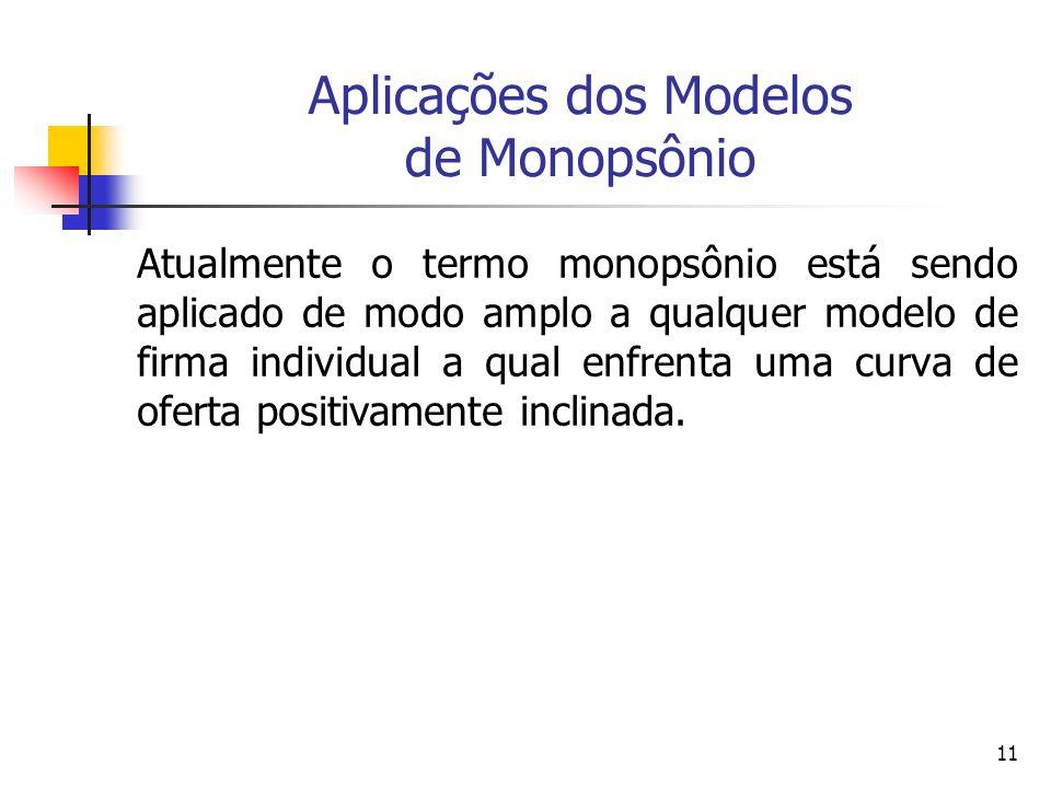 11 Aplicações dos Modelos de Monopsônio Atualmente o termo monopsônio está sendo aplicado de modo amplo a qualquer modelo de firma individual a qual e
