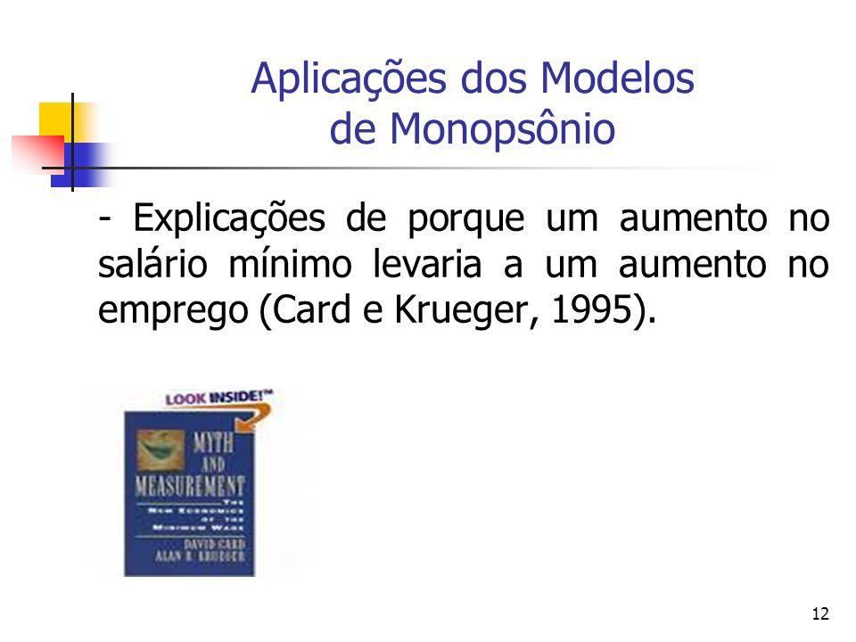 12 Aplicações dos Modelos de Monopsônio - Explicações de porque um aumento no salário mínimo levaria a um aumento no emprego (Card e Krueger, 1995).