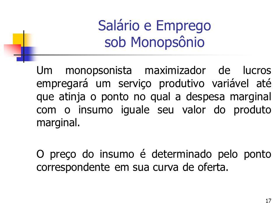 17 Salário e Emprego sob Monopsônio Um monopsonista maximizador de lucros empregará um serviço produtivo variável até que atinja o ponto no qual a des