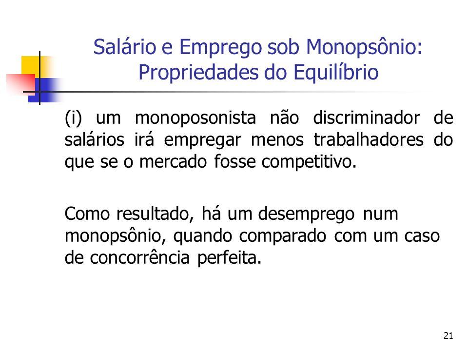 21 Salário e Emprego sob Monopsônio: Propriedades do Equilíbrio (i) um monoposonista não discriminador de salários irá empregar menos trabalhadores do