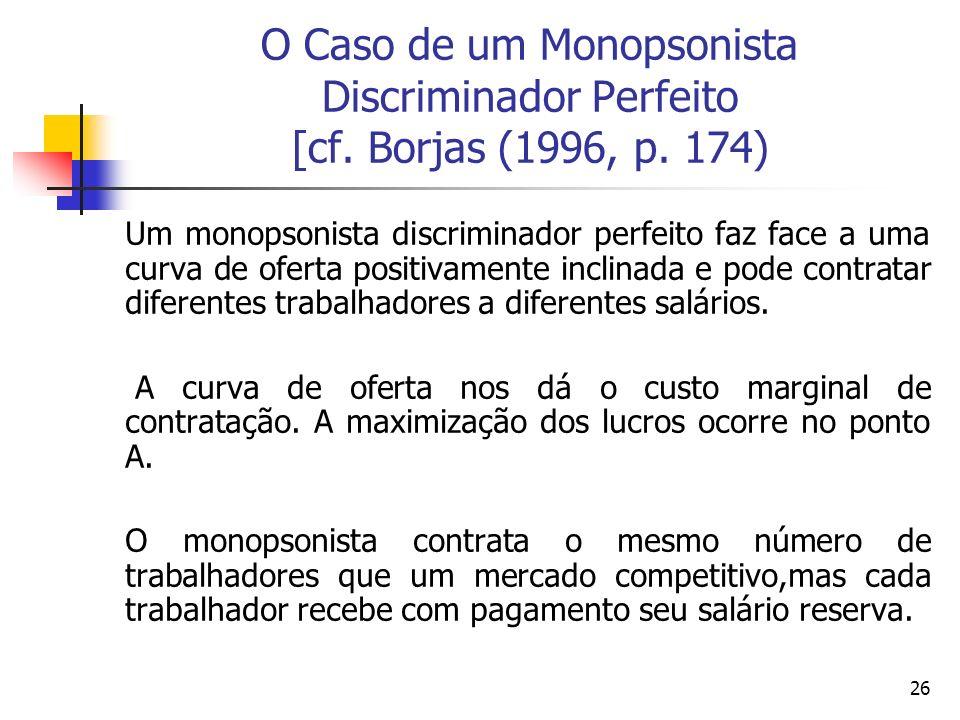 26 O Caso de um Monopsonista Discriminador Perfeito [cf. Borjas (1996, p. 174) Um monopsonista discriminador perfeito faz face a uma curva de oferta p