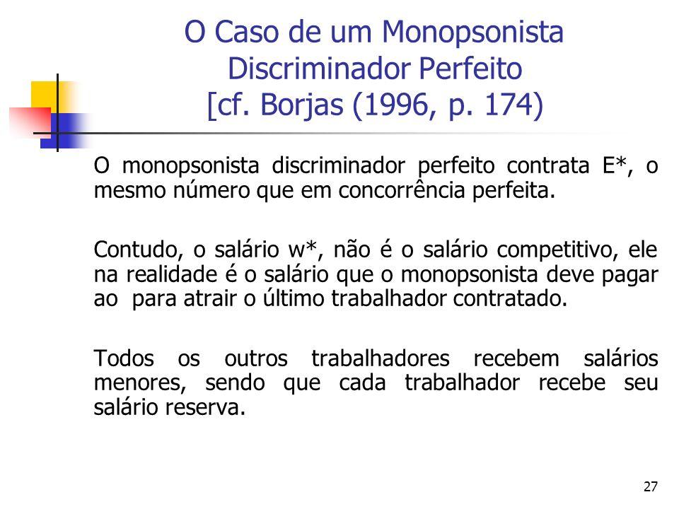 27 O Caso de um Monopsonista Discriminador Perfeito [cf. Borjas (1996, p. 174) O monopsonista discriminador perfeito contrata E*, o mesmo número que e
