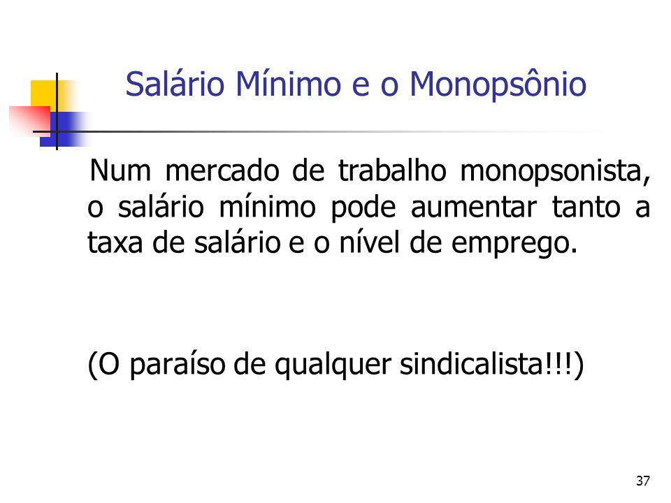 37 Salário Mínimo e o Monopsônio Num mercado de trabalho monopsonista, o salário mínimo pode aumentar tanto a taxa de salário e o nível de emprego. (O