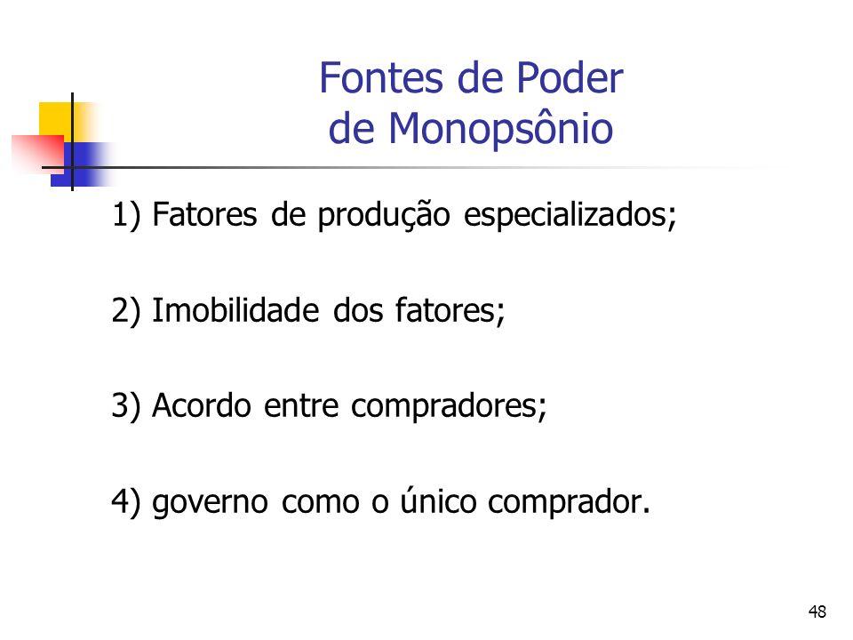 48 Fontes de Poder de Monopsônio 1) Fatores de produção especializados; 2) Imobilidade dos fatores; 3) Acordo entre compradores; 4) governo como o úni