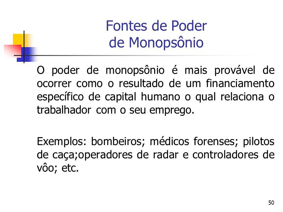 50 Fontes de Poder de Monopsônio O poder de monopsônio é mais provável de ocorrer como o resultado de um financiamento específico de capital humano o