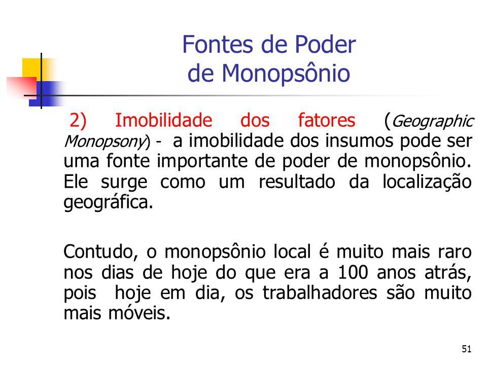51 Fontes de Poder de Monopsônio 2) Imobilidade dos fatores ( Geographic Monopsony) - a imobilidade dos insumos pode ser uma fonte importante de poder