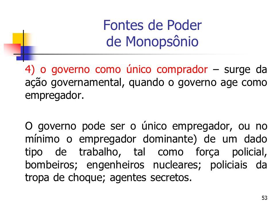 53 Fontes de Poder de Monopsônio 4) o governo como único comprador – surge da ação governamental, quando o governo age como empregador. O governo pode